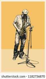A Street Jazz Musician Plays The Saxophone. Retro Engraving Style. Vector illustration.