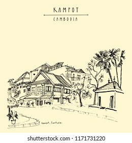 Street in Kampot, Cambodia, Southeast Asia. Old houses in French colonial town. Travel sketch. Vintage artistic hand drawn travel postcard or poster. Vector illustration