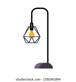 Street lamp. Bulb, lattice lampshade, lamppost, lantern. Vector illustration can be used for topics like streetlight, electricity, sidewalk