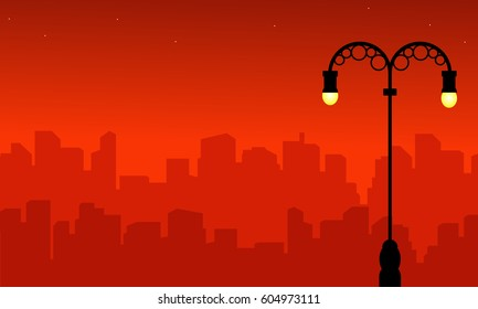 Street lamp with city silhouette landscape style