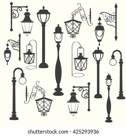 Street lamp collection, vector illustration