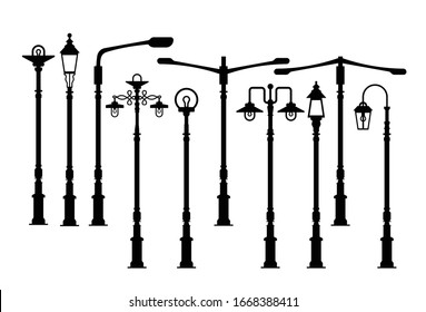 Street lamp, Outdoor lamp icons vector
