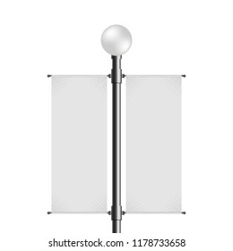 street lamp post with empty blank dual banner. vector mock up