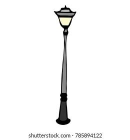 Street Lamp vector illustration. Doodle style. Design, print, decor, textile, paper