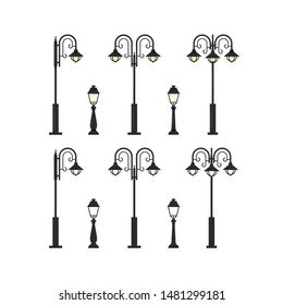 Street lamppost. Set of city lanterns isolated on white background, vector illustration