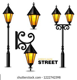 Street lamps 3d Vector realisic set collection isolated on white backgrounds