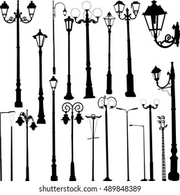 Street lamps collection - vector
