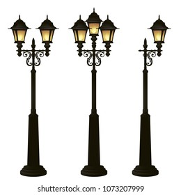 Street lamps collection,Lantern set.Forging lamppost.Classic style.