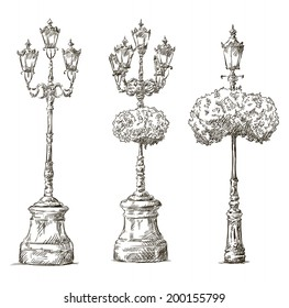 street lamps. Lamp posts drawings. Sketch. Freehand.