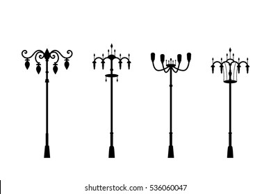 Street lamps in silhouette style