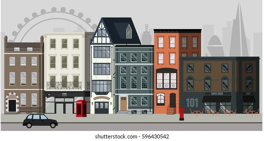 Street landscape with apartment buildings, shops and bars and London skyline in the background.