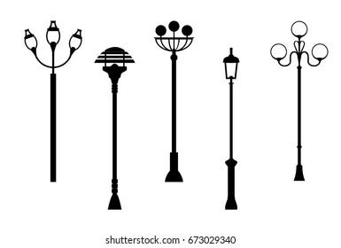 street lanterns silhouettes