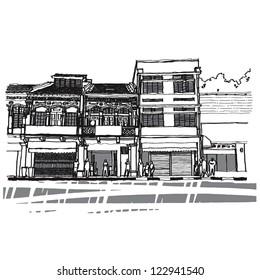 Street life sketchbook : Singapore vector illustration.