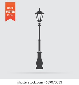 Street light icon in flat style isolated on grey background. For your design, logo. Vector illustration.