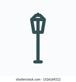 Street light isolated icon, vintage street lamp linear vector icon