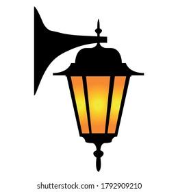 street light isolated old wall lamp vector illustration  - Shutterstock ID 1792909210