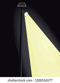 Street light with solar panel on night. vector illustration