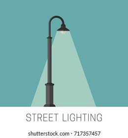 Street lighting flat banner. Background with a luminous lamppost.