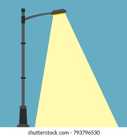 Street lighting flat banner. City night street light with light from streetlight lamp. Outdoor Lamp post in flat style. Spotlight Vector illustration