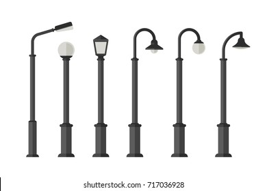 Street lighting flat icons. Lampposts and outdoor lighting for urban design.