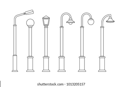 Street lighting line icons. Lampposts and outdoor lighting for urban design.