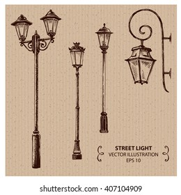 Street lights. Hand drawn Vector Illustration