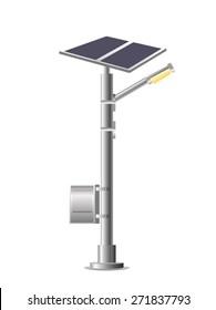 Street Lights - Park with solar panel. Vector