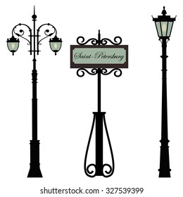 Street lights and a sign of the city of Saint-Petersburg. Vector illustration