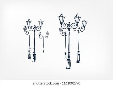 Street lights vector sketch illustration