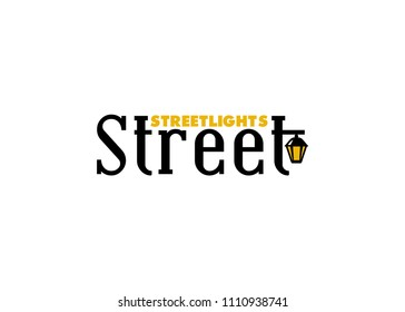 Street logo template. Vintage street lamp in vector. A textual logo in vintage style isolated on white background