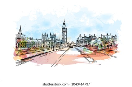 Street of London, the capital of England and the United Kingdom, is a 21st-century city with history stretching back to Roman times. Watercolor splash with Hand drawn sketch illustration in vector.