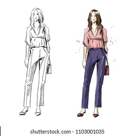 street look. Casual style, vector fashion illustration.