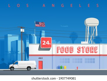 A street in the Los Angeles neighborhood. Symbolic illustration with a food store building, a water tower, the city skyline, electricity pole, and a cargo car parked on the street (not derived image)