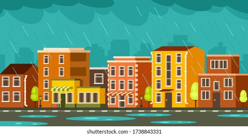 Street with low-rise houses. Its raining in the city. Wet road. Clouds gathered over houses