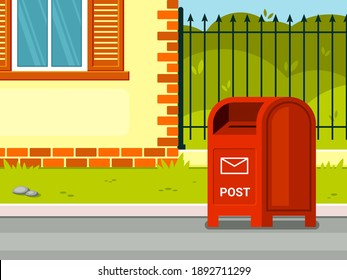 Street mailbox near house illustration. Red container for receiving correspondence against background of green lawn and private area convenient retro box written communication. Information vector.