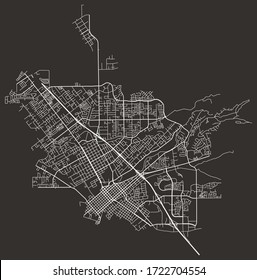 Street map of Chico, California, US, black-and-white with major and minor roads & lanes, city plan poster