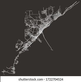 Street map of Duluth, Minnesota, US, black-and-white with major and minor roads & lanes, city plan poster
