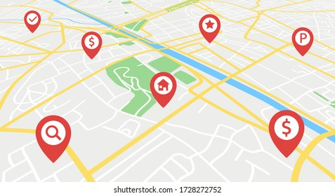 Street map with GPS icons. Navigation. Vector Illustration.