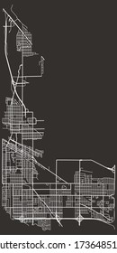Street map of Hammond, Indiana, USA, city footprint plan with major and minor roads, lanes, highways, downtown and suburbs