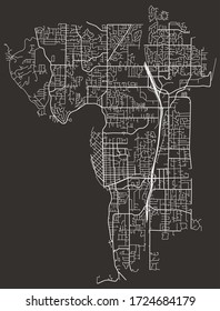 Street map of Kirkland, Washington, US, with major and minor roads and lanes, highways, city plan blueprint poster