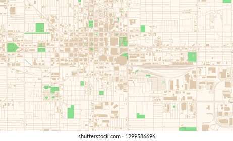 Street map of Phoenix, Arizona. This classic colored map of Phoenix contains several shapes for highways, bigger and smaller streets, water and parks as well as buildings.