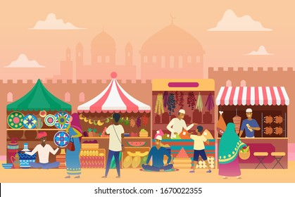 Street market flat vector illustration. Local Indian outdoor marketplace. Traditional retailing. Joyous ccartoon vendors at counters and customers. Sellers at stands. Asian city view background