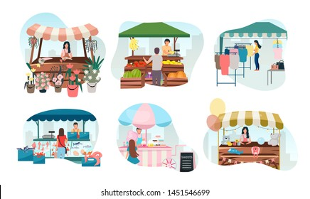 Street market stalls flat vector illustrations set. Fair, funfair trade tents, outdoor kiosks and carts with sellers. Shopping places cartoon concept. Summer festival market counters for selling goods