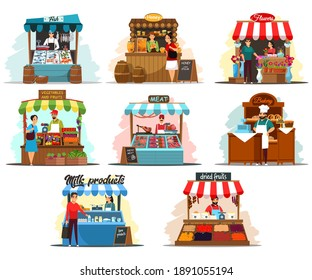 Street market stalls and kiosks with food illustration set. Outdoor local fair vector. Groceries, fish, honey, flowers, vegetables, fruits, meat, bakery, dairy stores. Wooden booth with merchants.