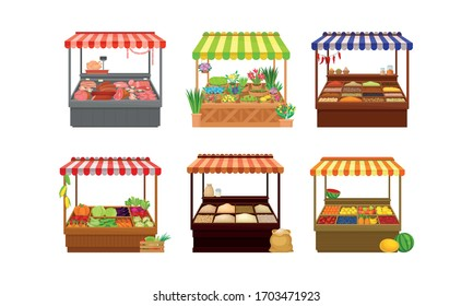 Street Market Stalls and Stands with Various Products like Meat and Condiments Vector Set