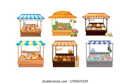 Street Market Stalls and Stands with Various Products like Fish and Bread Vector Set