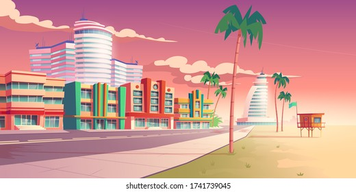 Street in Miami with hotels, sand beach and palm trees. Vector cartoon tropical landscape with buildings in resort city at sunset. Summer cityscape with empty road and rescue tower on sea shore