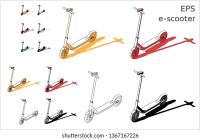 street motorized electric kick e-sooter vector icons set for architectural drawing and illustration, iso view