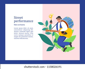 Street musician. One man band plays the trumpet, guitar, drums, and dancing. Street performance. Vector illustration.