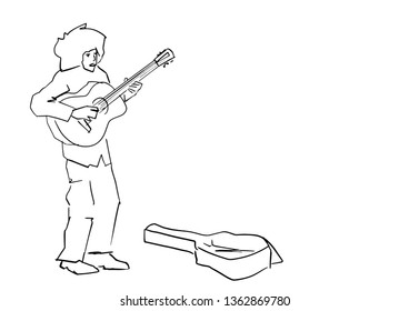Street musician plays the guitar. Silhouette of guitarist and open guitar case. Black lines drawing. Young guitar player contour. Vector.